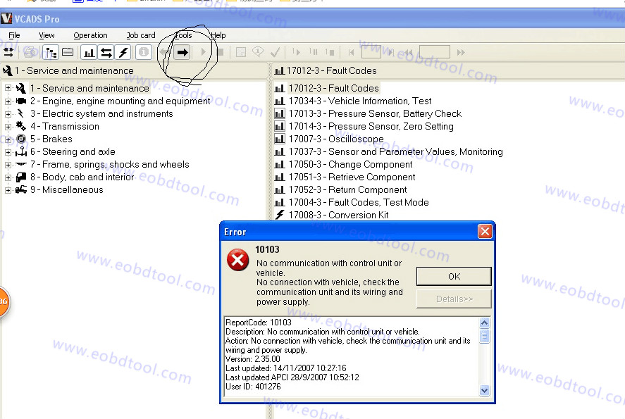 Volvo VCADS Pro 2 ntm How to solve Volvo VCADS Pro Error 10103 For Volvo Truck Diagnotic Tool