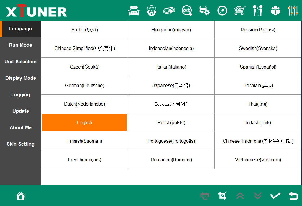 Xtuner e3 wifi language available